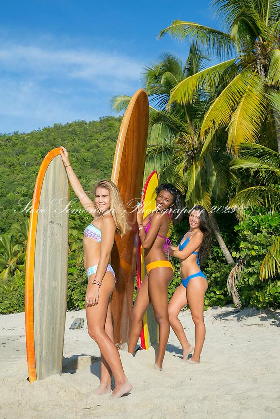 Surfer Girls<br /> Cinnamon Bay, St. John<br /> Virgin Islands National Park