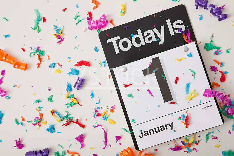 USA, Illinois, Metamora, January 1 calendar with confetti