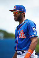 St. Lucie Mets shortstop Amed Rosario (1) during warmups before a game against the Brevard County Manatees on April 17, 2016 at Tradition Field in Port St. Lucie, Florida.  Brevard County defeated St. Lucie 13-0.  (Mike Janes/Four Seam Images)