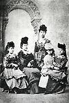 Circa 1870's, Japan - The First Study Abroad women went to the United States in 1871 with Iwakura mission. (L to R) Shigeko Nagai, Teiko Ueda, Ryoko Yoshimasu, Umeko Tsuda, Sutematsu Yamakawa. They are dressed in Western style. (Photo by Kingendai Photo Library/AFLO)