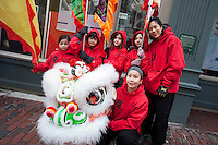 Lion dance, Chinese New Year, Chinatown, Boston, MA Gund Kwok group