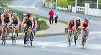 28 APR 2012 - LES SABLES D'OLONNE, FRA - Lucy Hall (#42, in red and black) (right) leads the Brive Limousin Tri team past the Tri Val de Gray team on the bike during the women's French Grand Prix Series triathlon prologue round in Les Sables d'Olonne, France .(PHOTO (C) 2012 NIGEL FARROW)