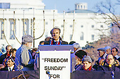 "Elie Wiesel, noted author, activist and winner of the Nobel Prize for Peace makes remarks at the ""Campaign to the Summit"", a march on Washington, D.C. supporting freedom for Jews living in the Soviet Union, on Sunday, December 6, 1987. 200,000 people marched to focus attention on the repression of Soviet Jewry, was scheduled a day before United States President Ronald Reagan and Soviet President Mikhail Gorbachev began a 2 day summit in Washington where they signed the Intermediate Range Nuclear Forces (INF) Treaty.<br />