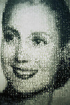 This image by the Argentinean artist Carpani is made from hundreds of miniature portraits of her. The painting hangs in the new Evita Museum in Buenos Aires that will open on the 50th anniversary of her death July 26th 2002.