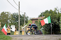 roadside fans cheering on the first rider of the day; (former) Syrian refugee Ahmad Wais (SYR) that came through the UCI development program <br /> <br /> Men's Elite Time trial from Imola to Imola (31.7km)<br /> <br /> 87th UCI Road World Championships 2020 - ITT (WC)<br /> <br /> ©kramon