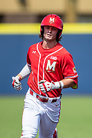 Maryland Terrapins shortstop Benjamin Cowles (1) jogs around the bases after his first inning home run against the Michigan Wolverines on May 23, 2021 in NCAA baseball action at Ray Fisher Stadium in Ann Arbor, Michigan. Maryland beat the Wolverines 7-3. (Andrew Woolley/Four Seam Images)