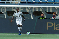 FOXBOROUGH, MA - SEPTEMBER 23: Zachary Brault-Guillard #15 of Montreal Impact passes the ball during a game between Montreal Impact and New England Revolution at Gillette Stadium on September 23, 2020 in Foxborough, Massachusetts.