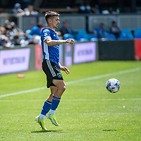 SAN JOSE, CA - APRIL 24: Paul Marie #3 of the San Jose Earthquakes controls the ball during a game between FC Dallas and San Jose Earthquakes at PayPal Park on April 24, 2021 in San Jose, California.