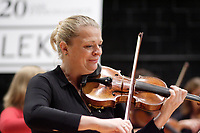 Montreal (Qc) CANADA - September 11, 2007 --<br /> Angele Dubeau play her violin at the 20th anniversary of ANALEKTA record label.