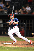 Memphis Redbirds outfielder Stephen Piscotty (33) at bat during a game against the Oklahoma City RedHawks on May 23, 2014 at AutoZone Park in Memphis, Tennessee.  Oklahoma City defeated Memphis 12-10.  (Mike Janes/Four Seam Images)