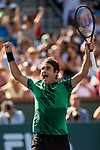 March 19, 2017: Roger Federer, SUI, celebrates after defeating Stan Wawrinka, SUI, 6-4,7-5 in the finals at the PNB Paribas Open being played at the Indian Wells Tennis Garden in Indian Wells, California.  ©Mal Taam/Tennisclix