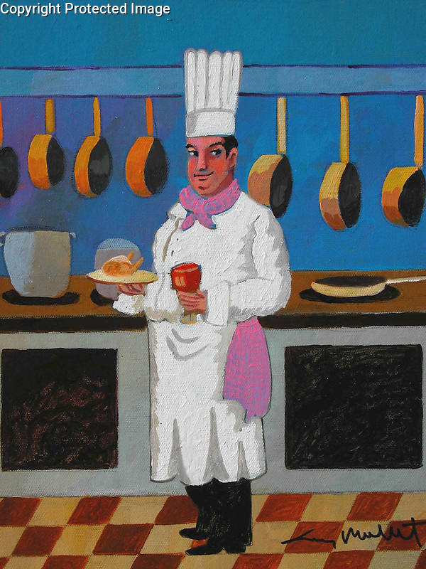"""""""Coq au Vin""""<br /> Acrylic on Box Canvas with painted sides.<br /> 14x11x3<br /> $6,000."""