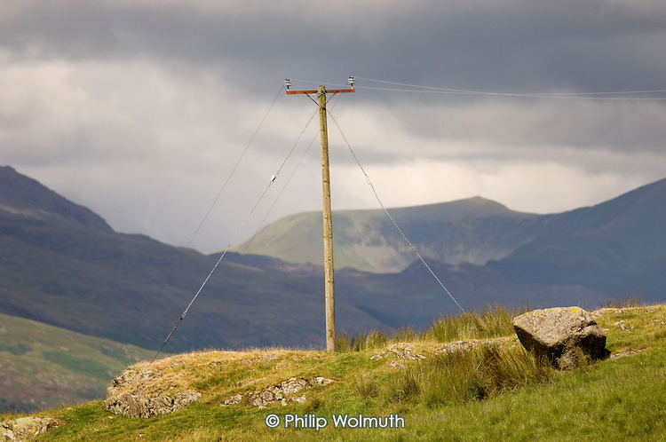 Electricity supply to a remote farmhouse on the edge if the Snowdonia National Park in North Wales