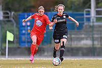 Clotilde Codden (23) of Woluwe and Geena Lisa Buyle (13) of Zulte-Waregem  pictured during a female soccer game between FC Femina White Star Woluwe and SV Zulte Waregem on the fifth matchday of play off 2 in the 2020 - 2021 season of Belgian Scooore Womens Super League , Saturday 8 th of May 2021  in Woluwe , Belgium . PHOTO SPORTPIX.BE | SPP | DAVID CATRY