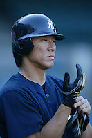 Hideki Matsui of the New York Yankees during batting practice before a 2007 MLB season game  against the Los Angeles Angels at Angel Stadium in Anaheim, California. (Larry Goren/Four Seam Images)