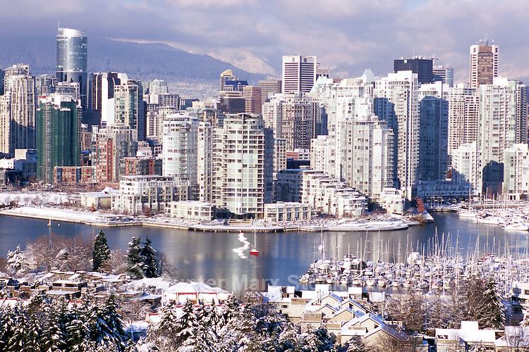 Vancouver, BC, British Columbia, Canada - City Skyline, False Creek, Yaletown Highrise Buildings, Winter