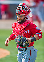 29 February 2016: Washington Nationals catcher Jhonatan Solano returns to the dugout during an inter-squad pre-season Spring Training game at Space Coast Stadium in Viera, Florida. Mandatory Credit: Ed Wolfstein Photo *** RAW (NEF) Image File Available ***