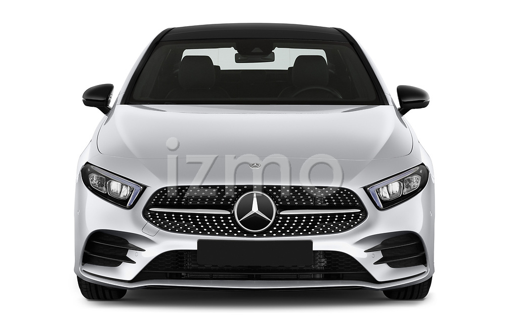 Car photography straight front view of a 2019 Mercedes Benz A-Class - 4 Door Sedan Front View