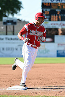 Batavia Muckdogs catcher Brad Haynal (23) runs the bases after hitting his first pro home run during a game against the State College Spikes on June 22, 2014 at Dwyer Stadium in Batavia, New York.  State College defeated Batavia 10-3.  (Mike Janes/Four Seam Images)