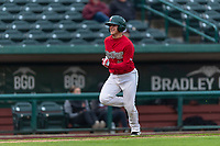 Fort Wayne TinCaps Nick Feight (2) runs home during a Midwest League game against the Fort Wayne TinCaps at Parkview Field on April 30, 2019 in Fort Wayne, Indiana. Kane County defeated Fort Wayne 7-4. (Zachary Lucy/Four Seam Images)
