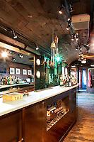 rustic wooden bar on train wagon