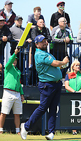 13th July 2021; The Royal St. George's Golf Club, Sandwich, Kent, England; The 149th Open Golf Championship, practice day; Shane Lowry (IRE) watches the flight of his tee shot at the par three 3rd hole