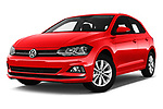 Stock pictures of low aggressive front three quarter view of a 2018 Volkswagen Polo High Line 5 Door Hatchback