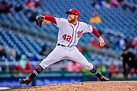 15 April 2018: Washington Nationals pitcher Sean Doolittle on the mound against the Colorado Rockies at Nationals Park in Washington, DC. All MLB players wore Number 42 to commemorate the life of Jackie Robinson and to celebrate Black Heritage Day in pro baseball. The Rockies edged out the Nationals 6-5 to take the final game of their 4-game series. Mandatory Credit: Ed Wolfstein Photo *** RAW (NEF) Image File Available ***