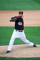Rochester Red Wings relief pitcher Buddy Boshers (40) during a game against the Norfolk Tides on July 17, 2016 at Frontier Field in Rochester, New York.  Rochester defeated Norfolk 3-2.  (Mike Janes/Four Seam Images)