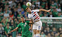 Dublin, Ireland - Saturday June 02, 2018: Kevin Long, Tim Parker during an international friendly match between the men's national teams of the United States (USA) and Republic of Ireland (IRE) at Aviva Stadium.