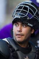Winston-Salem Dash catcher Omar Narvaez (21) between innings of the Carolina League game against the Lynchburg Hillcats at BB&T Ballpark on August 13, 2014 in Winston-Salem, North Carolina.  The Hillcats defeated the Dash 4-3.   (Brian Westerholt/Four Seam Images)