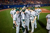 Siena Saints team huddle before a game against the Florida Gators on February 16, 2018 at Alfred A. McKethan Stadium in Gainesville, Florida.  Florida defeated Siena 7-1.  (Mike Janes/Four Seam Images)