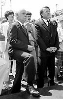 Montreal (QC) Canada- -July 7 1984  File Photo - Quebec Premier REne Levesque and Bernard Landry attend baptism of SOFATI-SOCONAV ship in Monreal OLd-Port.