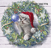 Marcello, CHRISTMAS ANIMALS, WEIHNACHTEN TIERE, NAVIDAD ANIMALES, paintings+++++,ITMCXM1778,#XA# ,christmas wreath ,cats,kittens