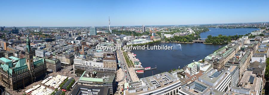 Alster im Zentrum der Stadt Hamburg: EUROPA, DEUTSCHLAND, HAMBURG, (EUROPE, GERMANY), 02.07.2015: Alster im Zentrum der Stadt Hamburg