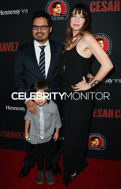 """HOLLYWOOD, LOS ANGELES, CA, USA - MARCH 20: Michael Pena, Roman Pena, Brie Shaffer at the Los Angeles Premiere Of Pantelion Films And Participant Media's """"Cesar Chavez"""" held at TCL Chinese Theatre on March 20, 2014 in Hollywood, Los Angeles, California, United States. (Photo by Celebrity Monitor)"""