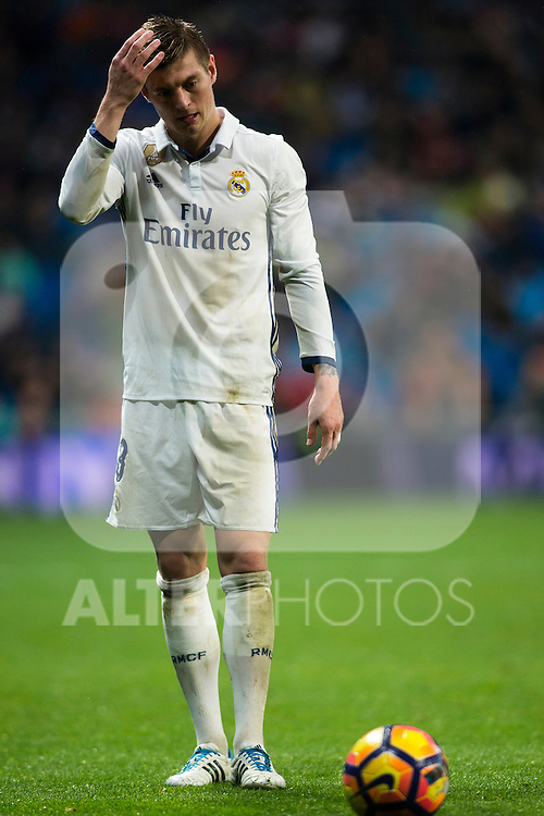 Real Madrid's midfielder Toni Kroos during the match of La Liga between Real Madrid and   Real Sociedad at Santiago Bernabeu Stadium in Madrid, Spain. January 29th 2017. (ALTERPHOTOS/Rodrigo Jimenez)