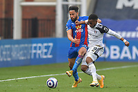 Ademola Lookman of Fulham battles with Andros Townsend of Crystal Palace during the Premier League behind closed doors match between Crystal Palace and Fulham at Selhurst Park, London, England on 28 February 2021. Photo by Vince Mignott / PRiME Media Images.