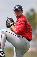 Washington Nationals minor leaguer Zech Zinicola during Spring Training at the Carl Barger Training Complex on March 19, 2007 in Melbourne, Florida.  (Mike Janes/Four Seam Images)