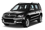 2014 Skoda YETI LAURIN & KLEMENT OUTDOOR 5 Door SUV 4WD Angular Front stock photos of front three quarter view