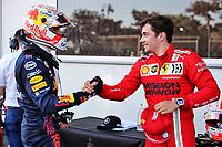 5th June 2021;  F1 Grand Prix of Azerbaijan 33 Max Verstappen NED, Red Bull Racing congratulates pole winner 16 Charles Leclerc MON, Scuderia Ferrari Mission Winnow, F1 Grand Prix of Azerbaijan at Baku City Circuit