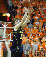 Nov 30, 2010; Clemson, SC, USA; Michigan Wolverines guard Matt Vogrich (13) shoots a three in the game against the Clemson Tigers at Littlejohn Coliseum. Mandatory Credit: Daniel Shirey/WM Photo -US PRESSWIRE