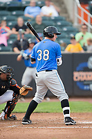 Brendan McKay (38) of the Hudson Valley Renegades at bat against the Aberdeen IronBirds at Leidos Field at Ripken Stadium on July 27, 2017 in Aberdeen, Maryland.  The Renegades defeated the IronBirds 2-0 in game one of a double-header.  (Brian Westerholt/Four Seam Images)