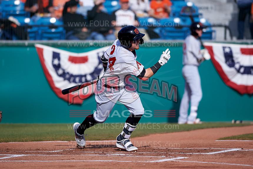 Visalia Rawhide first baseman Mark Karaviotis (24) during a California League game against the San Jose Giants on April 13, 2019 at San Jose Municipal Stadium in San Jose, California. Visalia defeated San Jose 4-2. (Zachary Lucy/Four Seam Images)