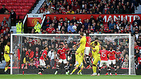 Charlie Goode of Brentford heads the ball towards the Manchester United goal during Manchester United vs Brentford, Friendly Match Football at Old Trafford on 28th July 2021
