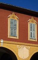 Europe/France/Provence-Alpes-Côtes d'Azur/06/Alpes-Maritimes/Arrière Pays Niçois/Sospel : Détail maison sur le Place Saint-Michel