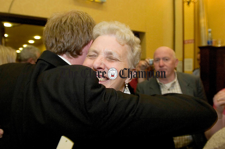 FF's Timmy Dooley celebrates with his  Mother Mary at the Count Centre in the West County Hotel Ennis.Pic Arthur Ellis.
