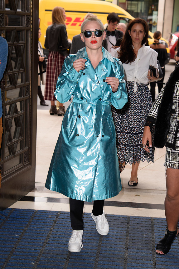 Rose McGowan<br /> front row at the Pam Hogg London Fashion Week SS18 catwalk show, London<br /> <br /> ©Ash Knotek  D3431  14/09/2018