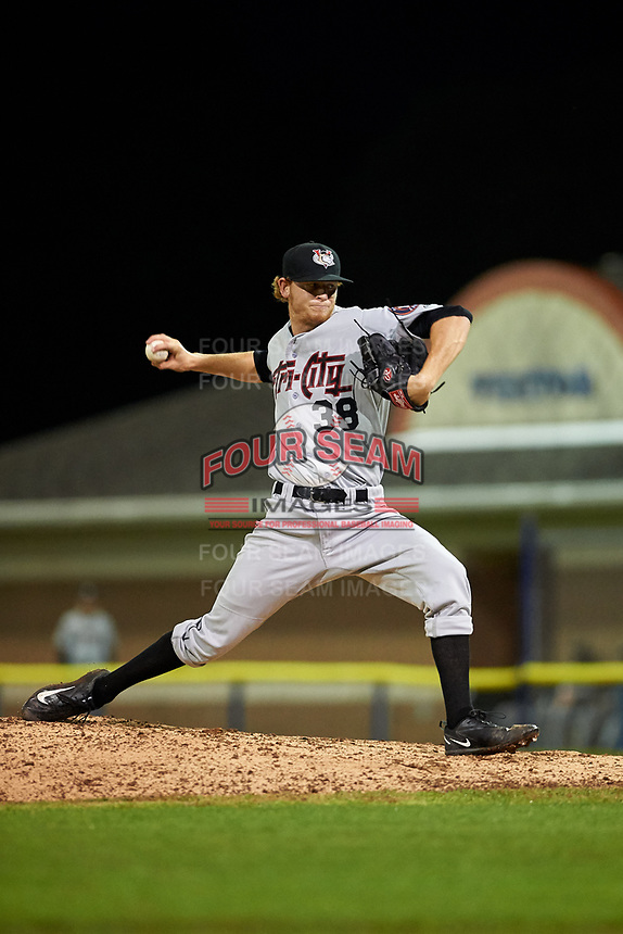 Tri-City ValleyCats relief pitcher Tyler Ivey (41) delivers a pitch during a game against the Batavia Muckdogs on July 14, 2017 at Dwyer Stadium in Batavia, New York.  Batavia defeated Tri-City 8-4.  (Mike Janes/Four Seam Images)