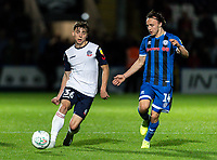 Bolton Wanderers' Callum King-Harmes (left) plays a through ball under pressure from Rochdale's Ollie Rathbone <br /> <br /> Photographer Andrew Kearns/CameraSport<br /> <br /> The Carabao Cup First Round - Rochdale v Bolton Wanderers - Tuesday 13th August 2019 - Spotland Stadium - Rochdale<br />  <br /> World Copyright © 2019 CameraSport. All rights reserved. 43 Linden Ave. Countesthorpe. Leicester. England. LE8 5PG - Tel: +44 (0) 116 277 4147 - admin@camerasport.com - www.camerasport.com